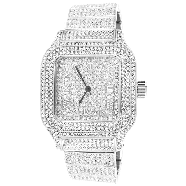 Stainless Steel Back White Tone Roman Dial Techno Pave Watch