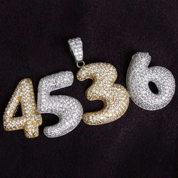 Custom Sterling Silver Iced Out Bubble Numbers 0-9