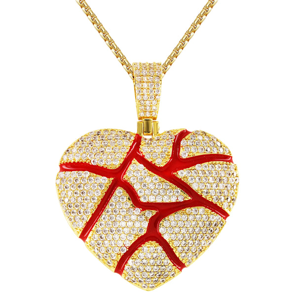 Custom 925 Broken Heart Red Enamel Gold Finish Pendant Chain