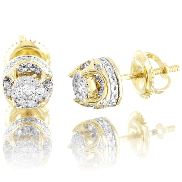 Real Diamonds Prong Set 10k Gold Mens Womens Earrings