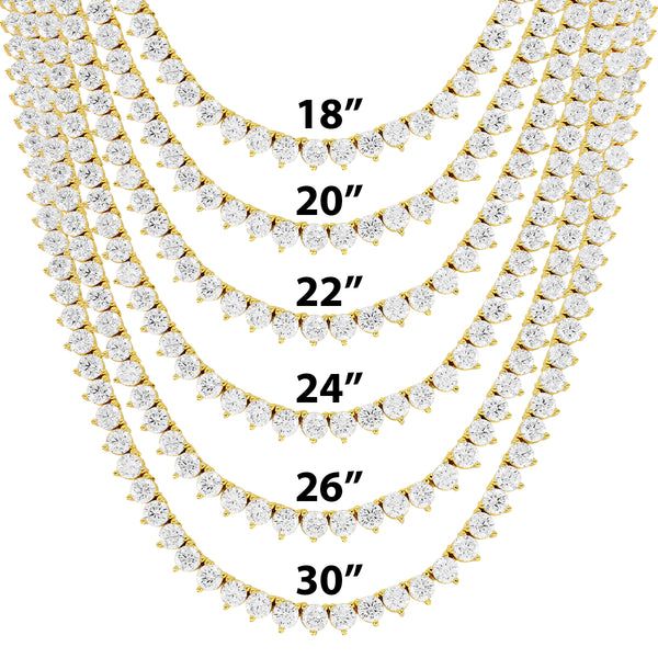 4mm solitaire 3 Prong One Row 14k Gold Finish Tennis Chain