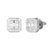 White Finish Square Baguette Hip Hop Icy Silver Earrings