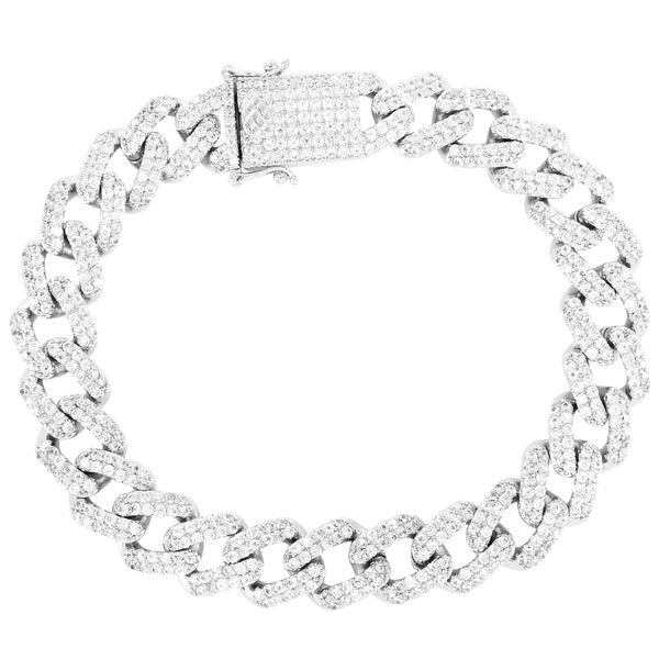 Custom 11mm Iced Out Square Links Miami Cuban Men's Bracelet