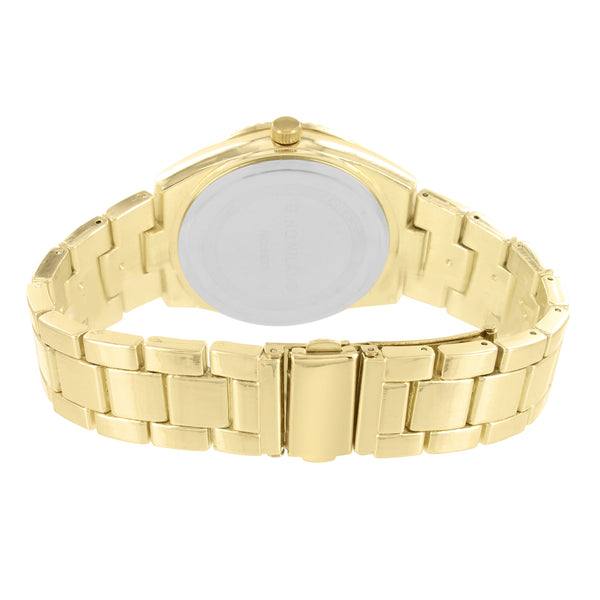 Gold Tone Men's Gold Face Fluted Bezel Metal Link Watch