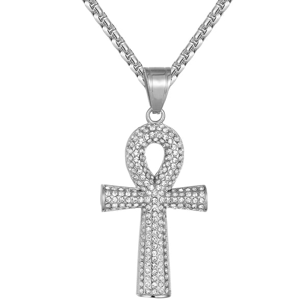 Men's Ankh Cross Symbol of Life Steel IcedOut Pendant