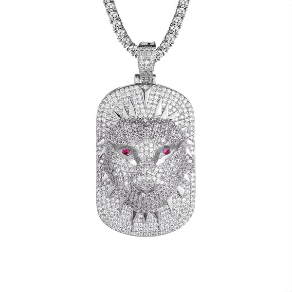 Dog Tag 3D Panther Face Bling Created Ruby Eyes Pendant