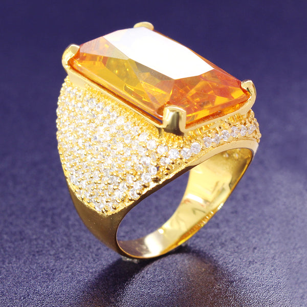 Men's Yellow Sapphire Ruby Iced Out Custom Ring