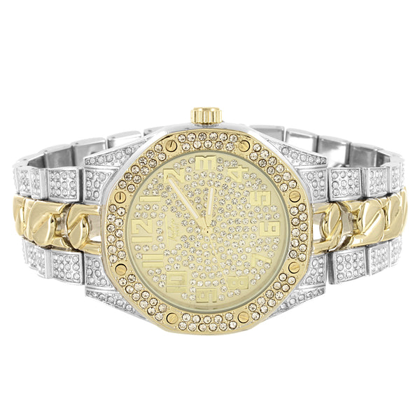 Men's Two Tone Cuban Link Band Iced Out Gold Face Watch