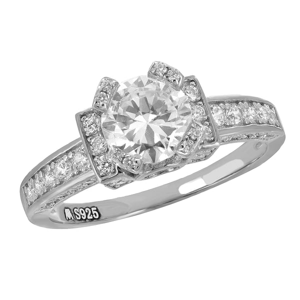 Solitaire Sterling Silver Ladies Ring Engagement Bridal Ring