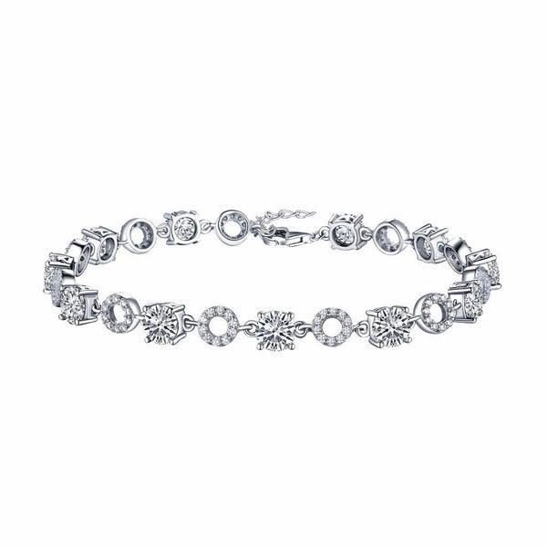Ladies Solitaire Lab Diamond Bracelet White Gold Over Sterling Silver