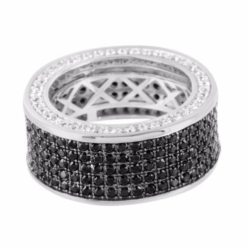 Real Silver Eternity Ring 360 Black/White Wedding Band