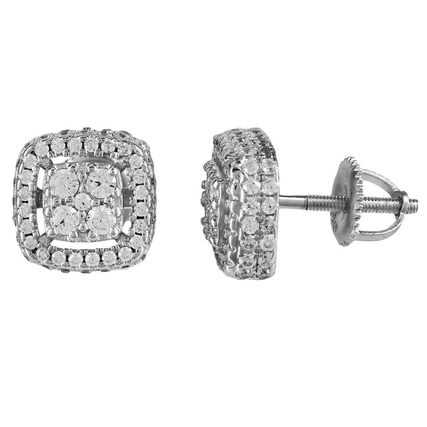 Icy Micro Pave Square Shape Silver Screw Back Earrings