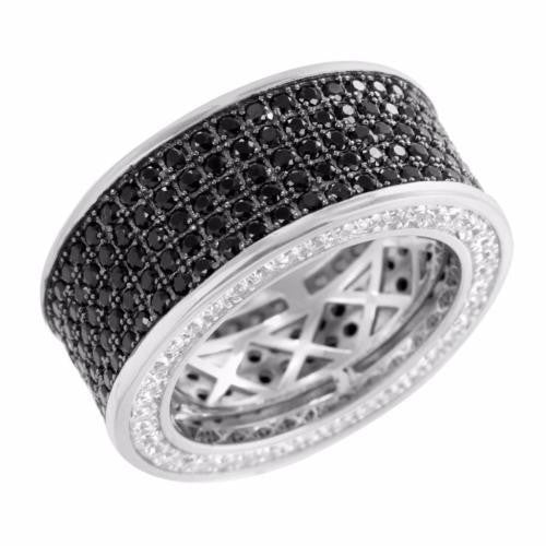 Real Silver Eternity Ring 360 Iced Black/White Wedding Band