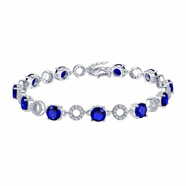Sapphire Solitaire Womens Bracelet Round Cut Sterling Silver