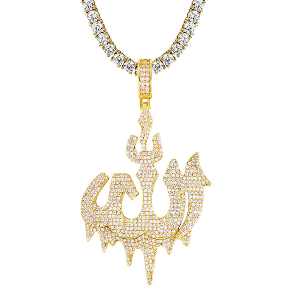Dripping Allah Arabic Islamic Bling Gold Tone .925 Silver Pendant