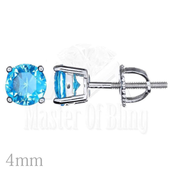Unisex Princess Cut Lab Diamond 4 MM Round Solitaire Studs