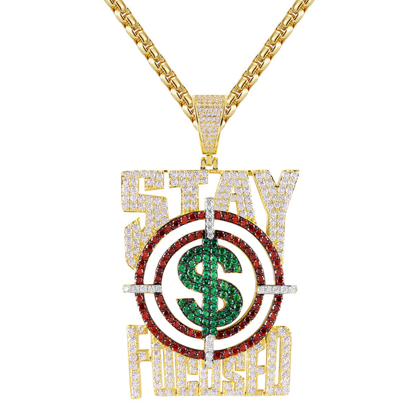 Gold Tone Stay Focused Money Dollar Rich Goal .925 Pendant