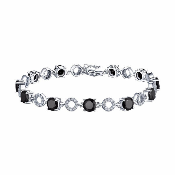 Black White Bracelet White Gold Over 925 Silver
