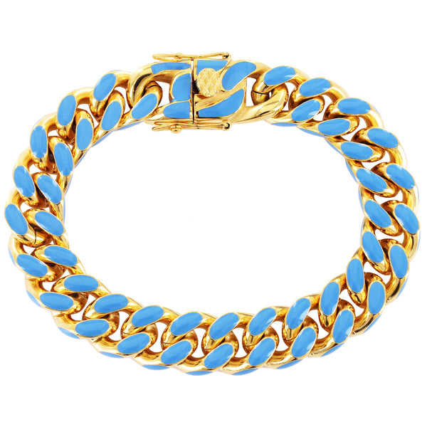 Blue Enamel Miami Cuban Links Gold Tone Stainless Steel Bracelet