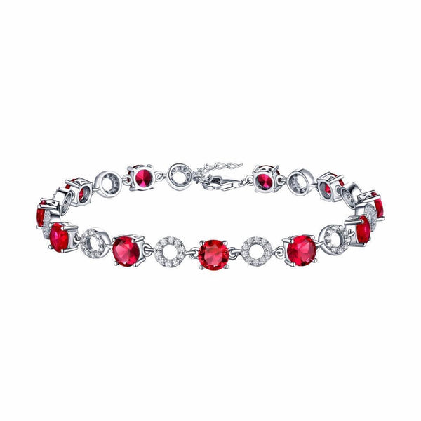 Ruby Solitaire White Gold Over 925 Sterling Silver Bracelet