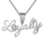 Silver Cursive Loyalty For Life Heart Bling Rapper Pendant