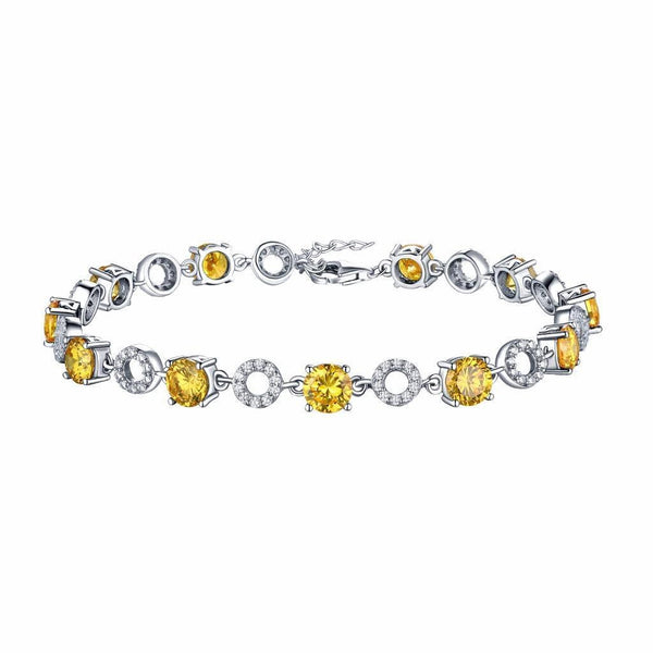 Canary Round Cut Bracelet Sterling Silver White Gold Tone