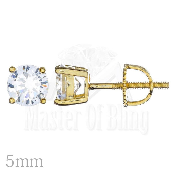 Unisex Princess Cut Lab Diamond 5 MM Round Solitaire Studs