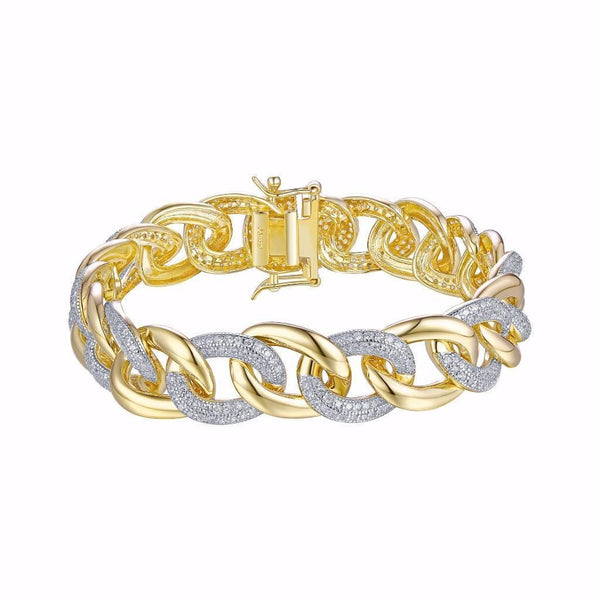 Women Yellow Gold Over Sterling Silver Cuban Bracelet