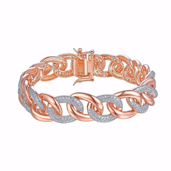 Miami Cuban Style Bracelet Ladies Rose Gold Over 925 Silver