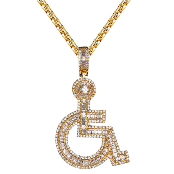 Icy Wheelchair Emoji Baguette Handicap Sign Gold Tone Pendant