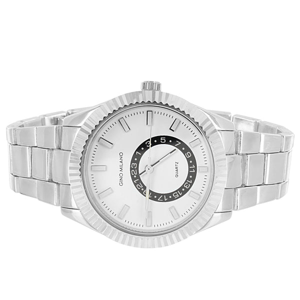Silver Finish Men's White Face Fluted Bezel Classic Band Watch