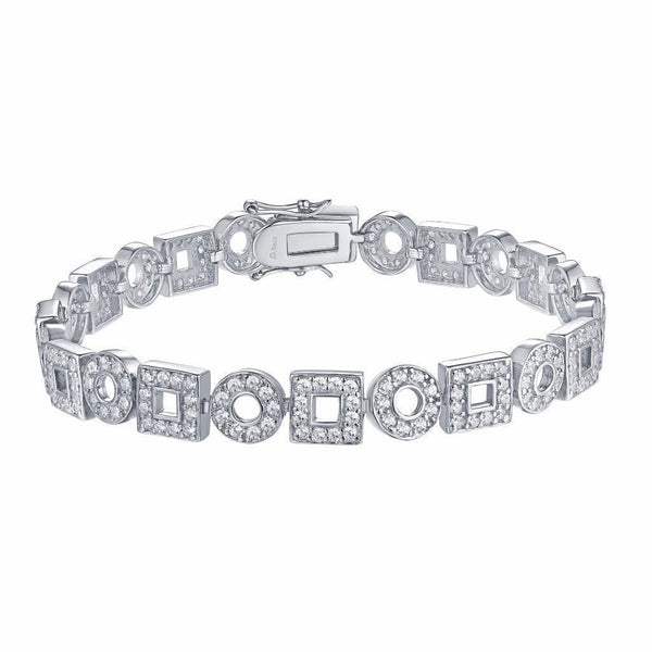Square Round Link Bracelet White Gold Over Sterling Silver