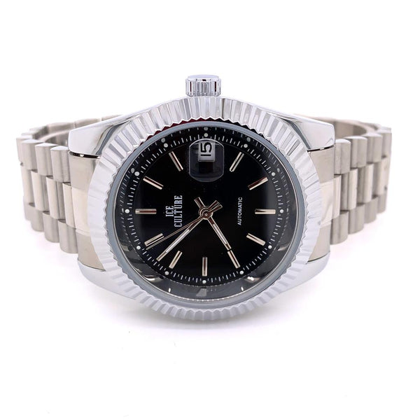 Stainless Steel Fluted Bezel Black Round Dial Designer Mens Watch
