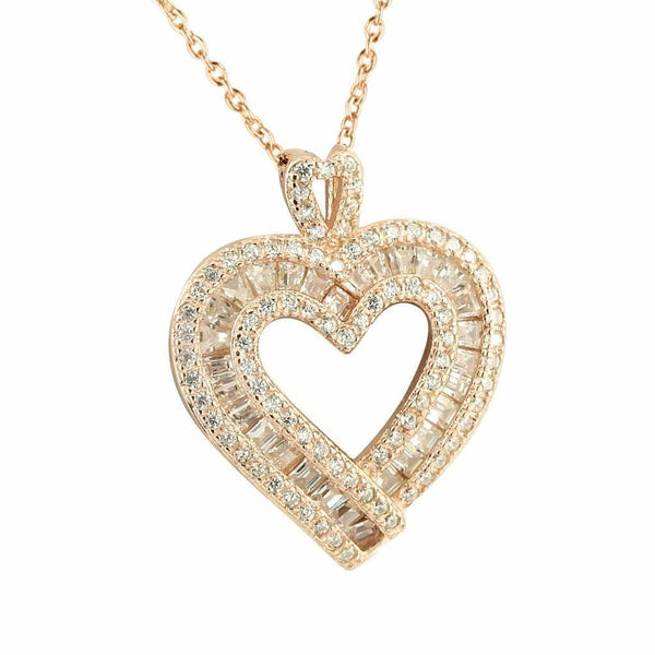 Rose Gold Heart Pendant Baguette Lab Created Diamond Valentine