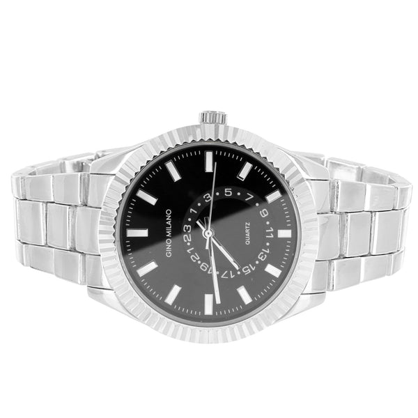 Silver Tone Men's Black Face Fluted Bezel Classic Band Watch