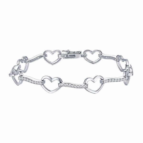 White Gold Over Sterling Silver Lab Diamond Heart Link Bracelet