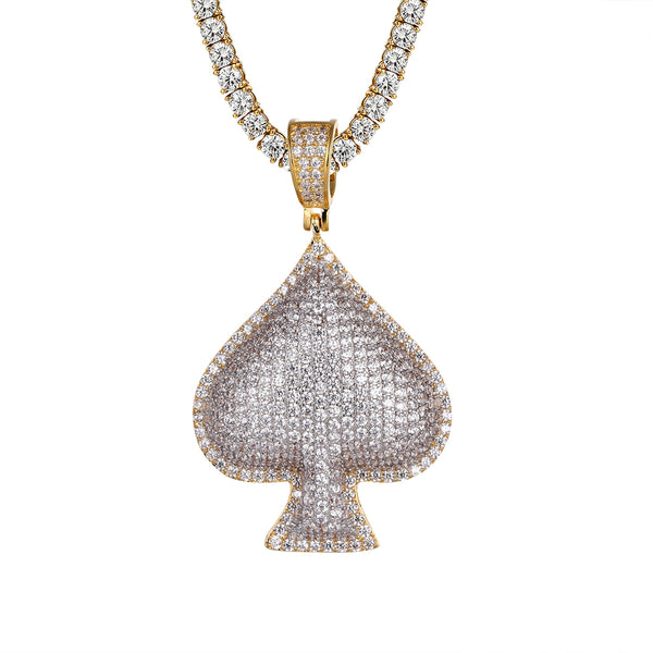 Mens Ace Of Spade Playing Card Hip Hop 3D Gold Finish Pendant