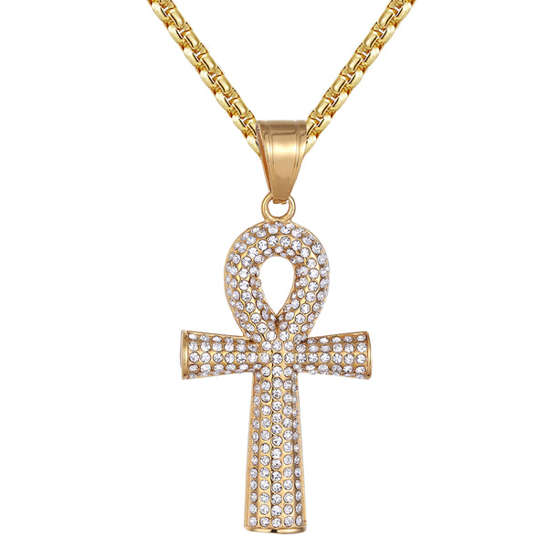 St. Religious Ankh Cross Cylindrical Iced Out Pendant