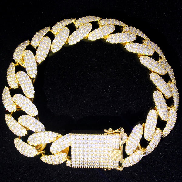 18MM Men's Yellow Gold Finish Iced Out Lock Cuban Bracelet