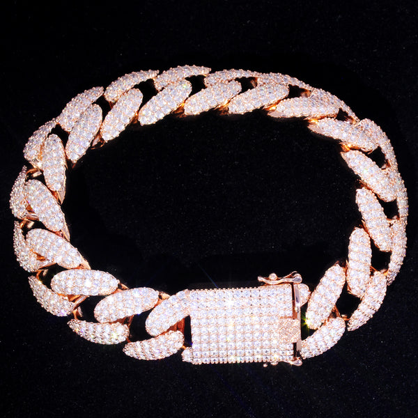 Iced Out Lock Rose Gold Finish 18MM Miami Cuban Bracelet