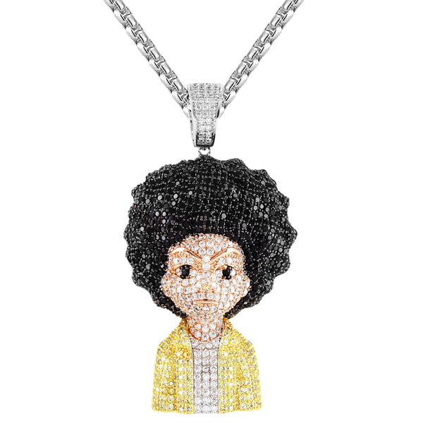 Mens Animated Comic Character Bling Rapper Silver Pendant