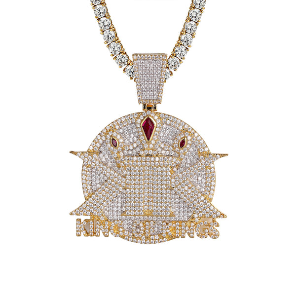 Mens King Of Kings Bling Rapper Medallion Created Ruby Pendant