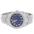 Men's Silver Tone Cuban Link Band Iced Out Blue Face Watch