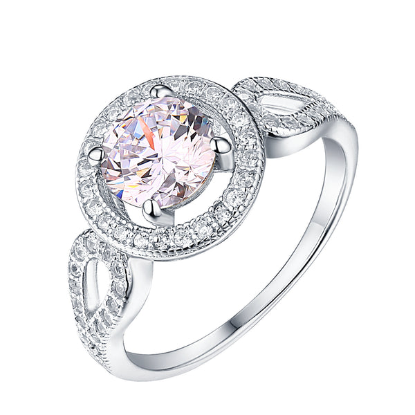Ladies Solitaire Engagement Ring Wedding White Gold On 925 Silver Cubic Zirconia