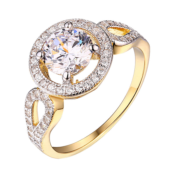 Womens Solitaire Bridal Ring Engagement Gold Over Sterling Silver Cubic Zircon New