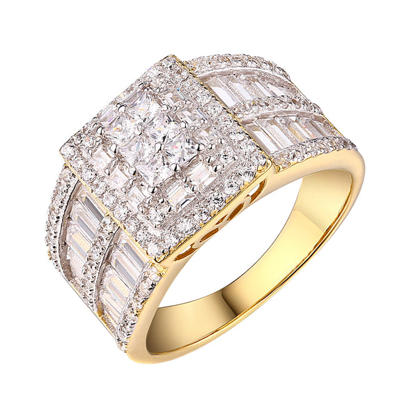 Sterling Silver Womens Ring Wedding Bridal Simulated Diamonds Gold Tone Elegant