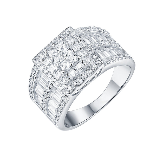 Womens Round Cut Ring Wedding Engagement White Gold 925 Silver Cubic Zirconia