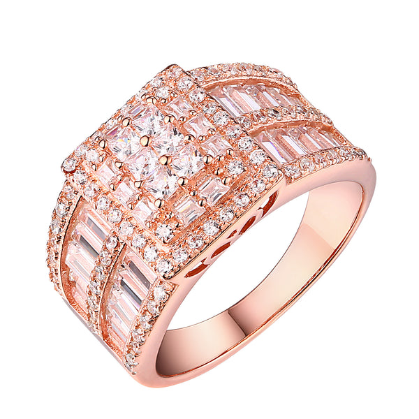 Womens Wedding Engagent Ring Rose Gold On Sterling Silver Cubic Zirconia Classy