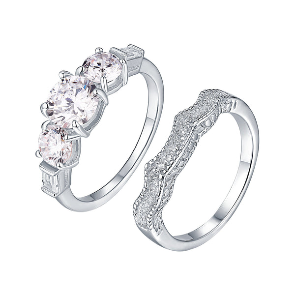 Wedding Bridal Womens Ring 3 Solitaire Cubic Zirconia White Gold On 925 Silver