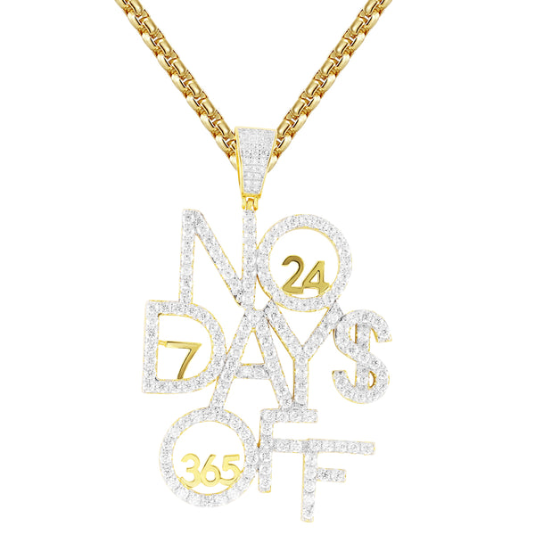 Men's No Days Off Silver 365 Days Hustle Hip Hop Pendant